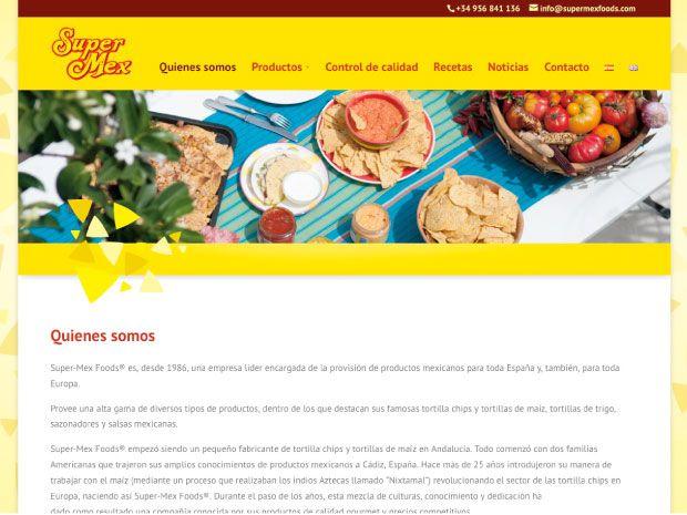 SuperMex Foods diseño de página web