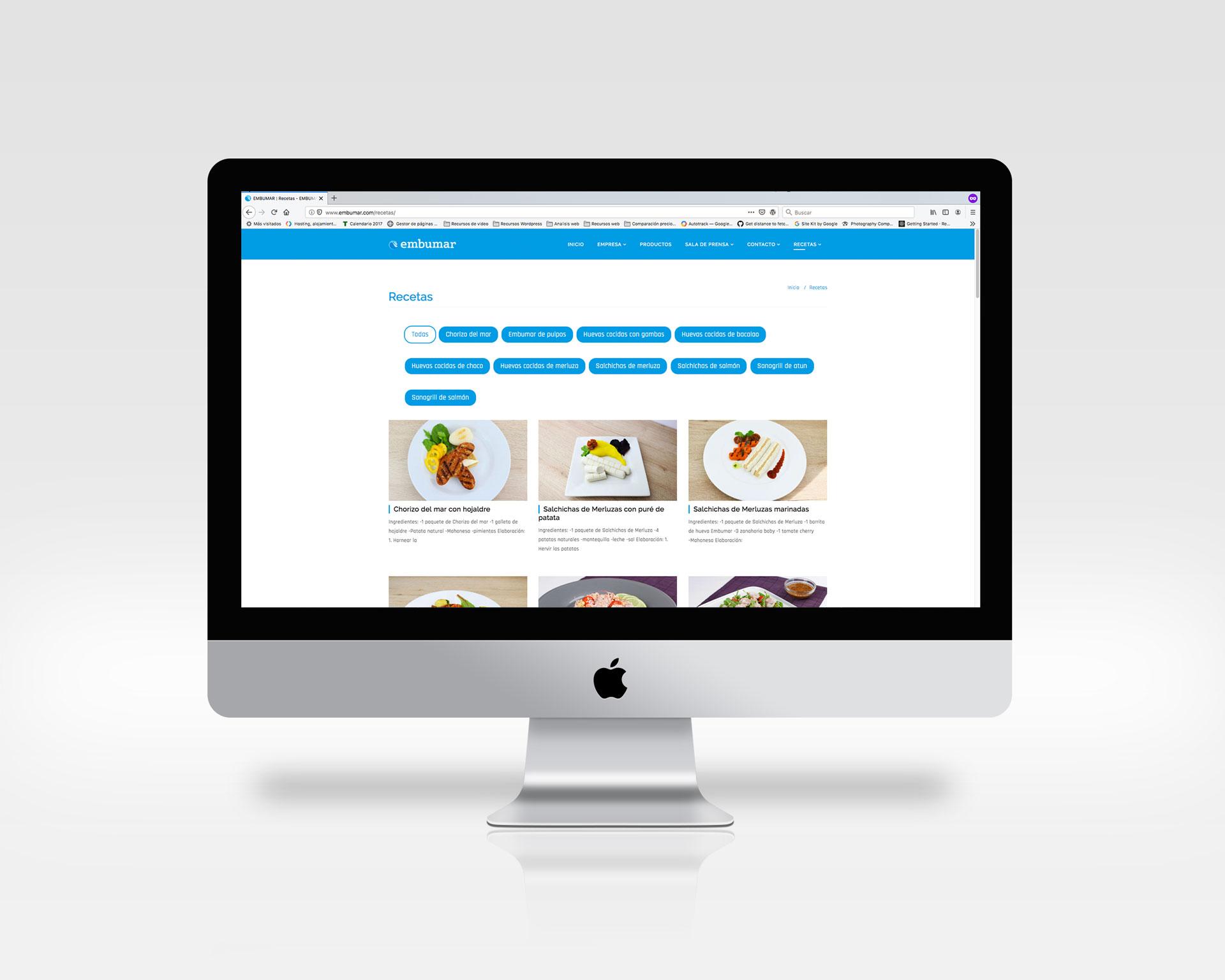 Embumar Embutidos marinos diseño de página web