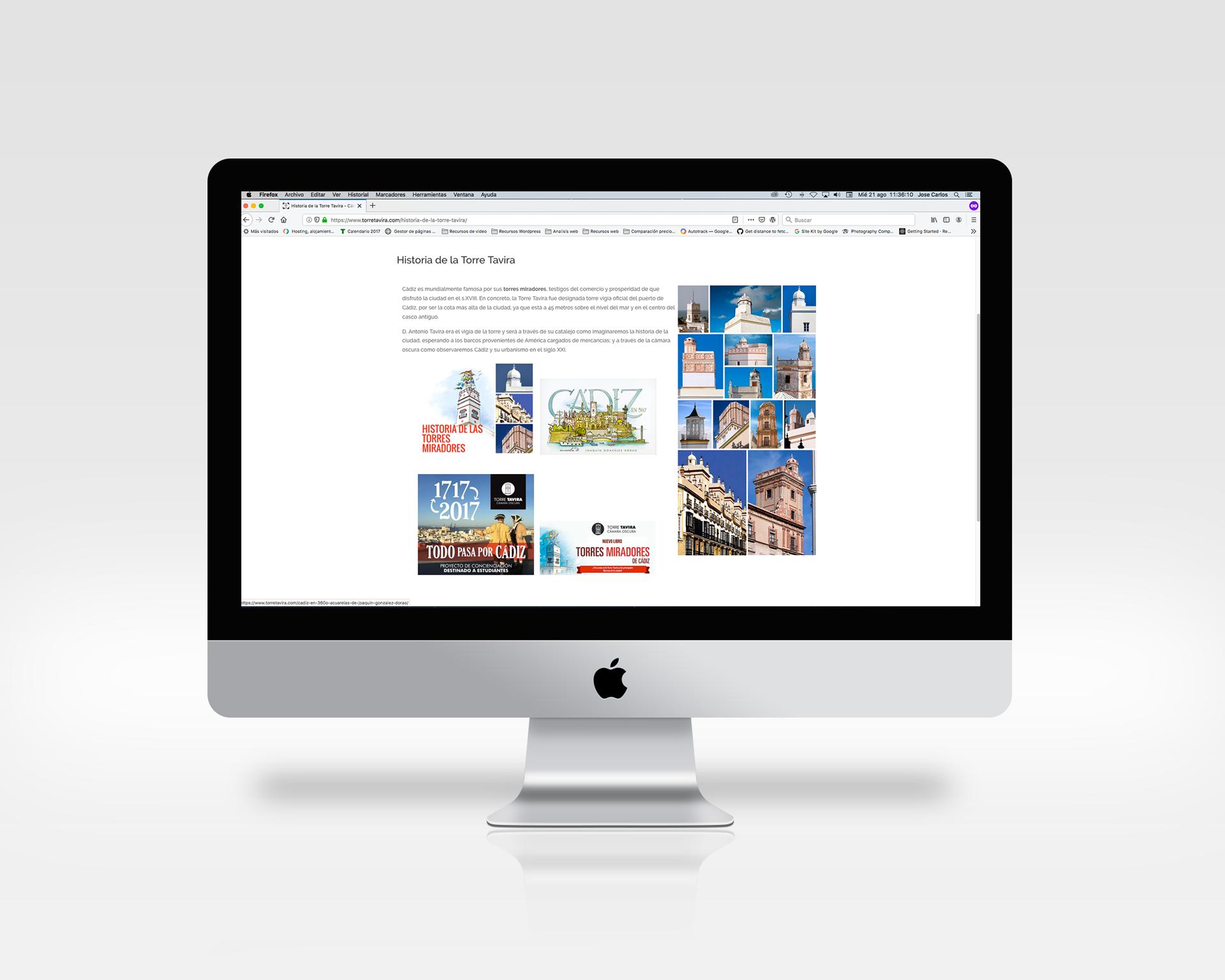 Torre Tavira diseño de página web